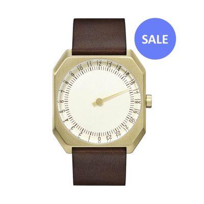 slow Jo 18 - Swiss one hand watch - Gold octagon case, dark brown - sale