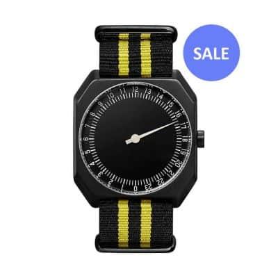 slow Jo 27 - Swiss single hand wrist watch - black, yellow - sale
