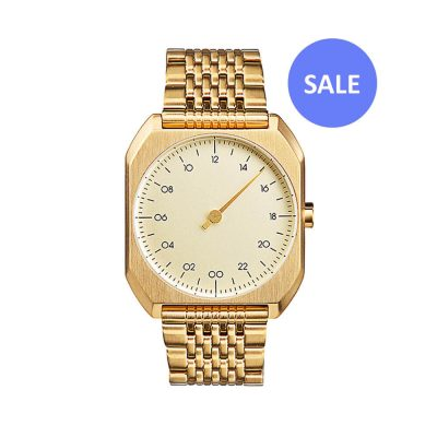slow Mo 04 - One hand wrist watch - All gold steel - Sale