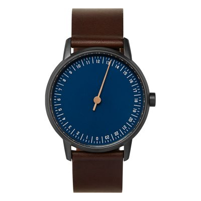 slow round 03 - One hand watch, anthracite case, blue dial - Swiss Made-1